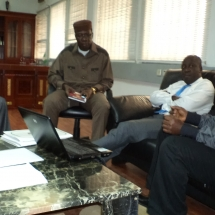 Pix 1 Dr Opia Bonnyface explaining to the Minister of Sports Alhaji Bolaji Adbulahi (2)
