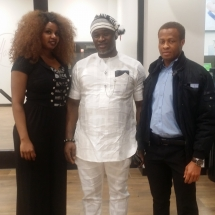 Mayor Ugo Nwaokoro flanked by Eunice Ukwuani and Raphael Ahanaonu