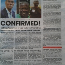 Publication of game in Daily Sun